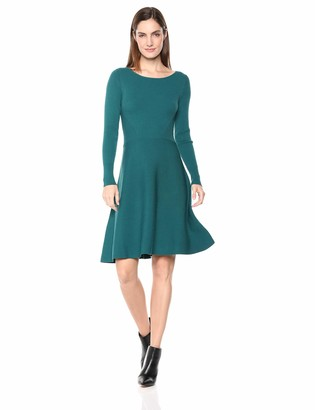 Lark & Ro Amazon Brand Women's Long Sleeve Ribbed Crewneck Fit and Flare Sweater Dress
