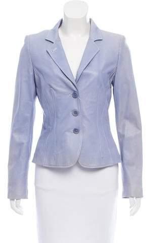 Armani Collezioni Leather Single-Breasted Blazer