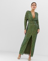 Asos Design DESIGN maxi dress with batwing sleeve and wrap waist in scatter sequin