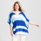 U-knit Women's Plus Size Tie Dye Blouse - U-Knit - Blue