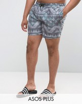 Asos Plus Swim Shorts With Aztec Print In Mid Length
