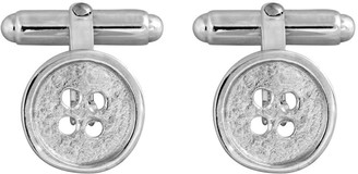 Edge Only Button Swivel Cufflinks In Silver | Matte Textured And Polished Rim