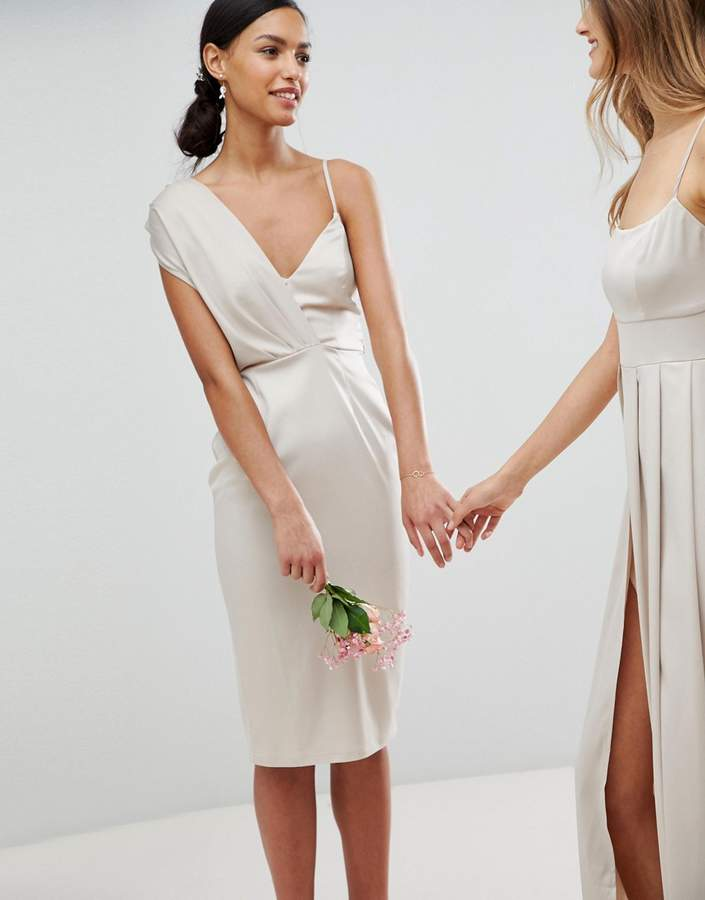 Asos Design Bridesmaid Satin Pencil Midi Dress With Tie Back
