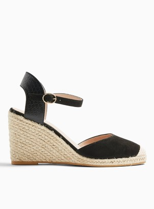 Miss Selfridge WIDE FIT WORK Black 2 Part Espadrille Wedges