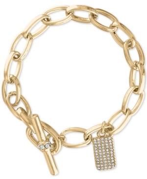 Rachel Roy Gold-Tone Pave Charm Link Bracelet