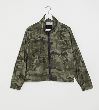 Brave Soul Tall utility zip through jacket co-ord in khaki camo