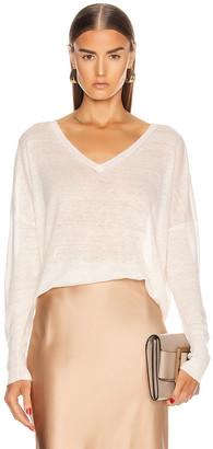 Nili Lotan Ginny Linen Sweater in Ivory   FWRD