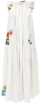 Chopova Lowena Embroidered Gathered Cotton-poplin Dress - White