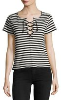 Mother The Up Crop Goodie Goodie Striped Tee, Black White Multi