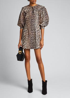 Ganni Leopard-Print Poplin Puff-Sleeve Dress