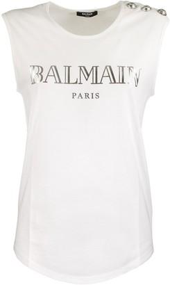 Balmain White Cotton T-shirt With Silver Logo Print