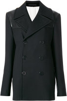 Alexander McQueen double breasted peacoat - women - Silk/Cotton/Leather/Wool - 50