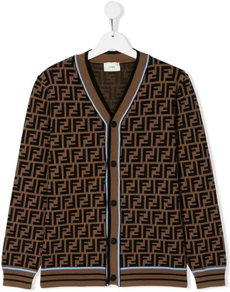 Fendi TEEN monogram pattern cardigan