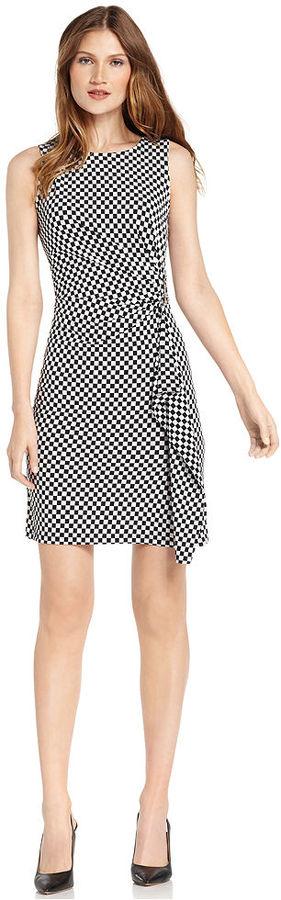 MICHAEL Michael Kors Dress, Sleeveless Check-Print Ruffled Sheath