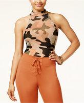 Material Girl Juniors' Mesh Camo-Print Bodysuit, Only at Macy's