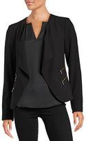 Calvin Klein Exposed Zip Open Front Blazer