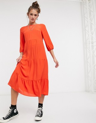 New Look 3/4 sleeve tiered midi smock dress in orange
