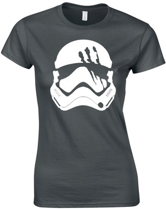 JLB Print Storm Trooper Slashed Helmet Sci Fi Movie Film Inspired Premium Quality Fitted T-Shirt Top for Women and Teens Charcoal