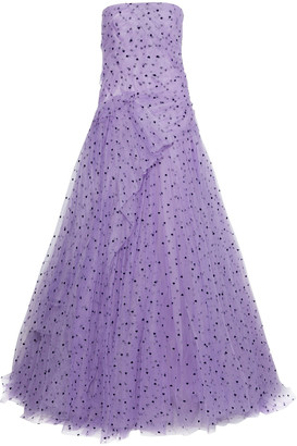 Carolina Herrera Strapless Draped Flocked Tulle Gown