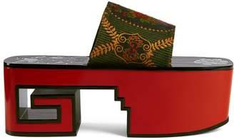Gucci GG roses platform slide sandal