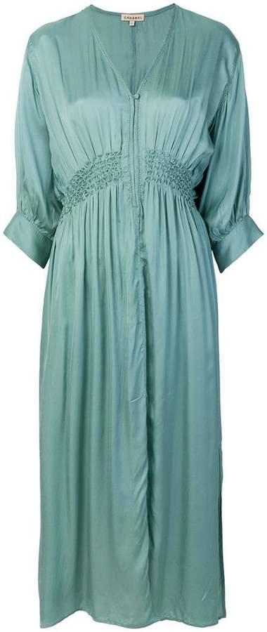 Caramel elasticated waist loose dress