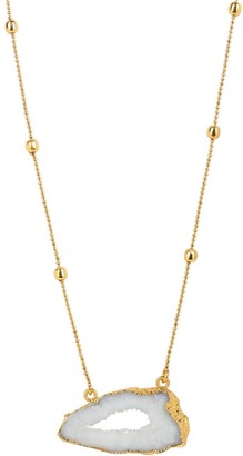 Yaa Yaa London Gold Vermeil White Agate Crystal Gemstone Necklace