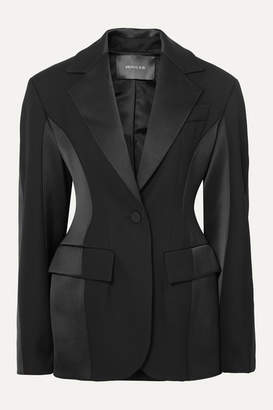 Thierry Mugler Paneled Grain De Poudre Wool And Satin Blazer - Black