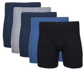 George Men's Covered Waistband Regular Leg Boxer Briefs, 5-Pack