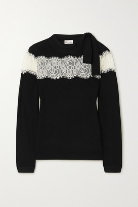 RED Valentino Bow-detailed Lace-trimmed Wool Sweater - Black