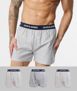 Jack and Jones 3 pack woven boxers in stripe