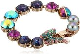 "Betsey Johnson You Give Me Butterflies"" Pave Butterfly Mixed Faceted Stone Bracelet"
