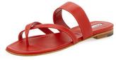 Manolo Blahnik Susa Flat Leather Thong Sandal, Red