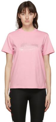MSGM Pink Rhinstone Logo T-Shirt