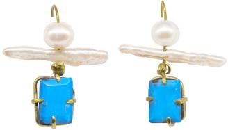 Lily Flo Jewellery Marine Turquoise & Peal Drop Earrings
