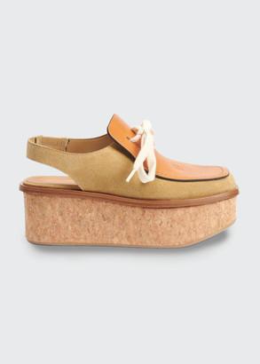 Loewe Mixed Leather Cork Wedge Slingback Loafers