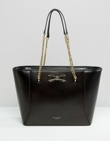 Ted Baker Leather Bow Shopper With Chain Strap