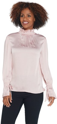 Vince Camuto Flare Tie Cuff Yoryu Satin Smock-Neck Long Sleeve Top
