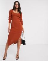 Asos Design DESIGN scoop neck rib knitted midi dress