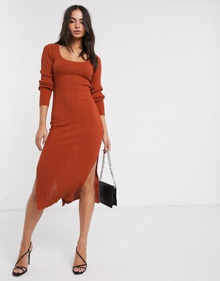 Asos Design DESIGN scoop neck rib knitted midi dress-Red