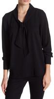 Kensie Crepe Woven Self-Tie Shirt