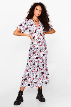 Nasty Gal Womens Bud Start Floral Spotty Midi Dress - White - 6, White