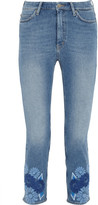MiH Jeans Niki Cropped Embroidered Mid-rise Skinny Jeans - Mid denim