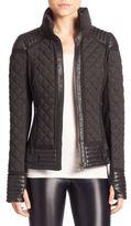 Blanc Noir Mesh Inset Moto Puffer Jacket
