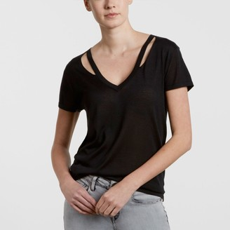 Levi's Vintage - Silk Made and Crafted V Neck Cutout T Shirt - s | silk