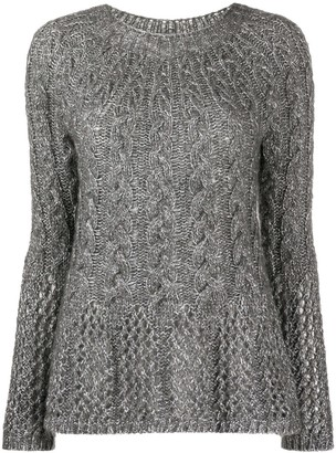 Twin-Set Cable Knit Jumper With Open Knit Detail
