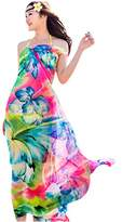 GERINLY Chiffon Sarong Wrap: Fresh Zephyranthes Print Oversize Beach Cover Up