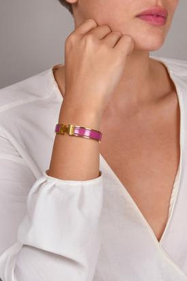 Hermes Narrow Clic H Bracelet (Rose Azalee/Palladium) - PM