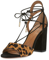 Aquazzura Austin Calf-Hair Lace-Up Sandal, Caramel Leopard