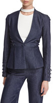 Cushnie et Ochs Lace-Up Trim Peplum Jacket, Denim