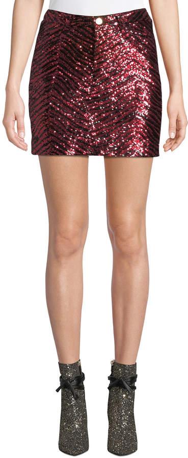 Alexandre Vauthier Zebra-Sequined Mini Skirt